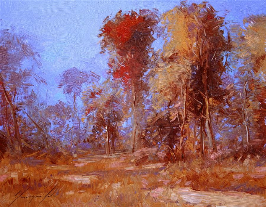 Discover Original Art by Vahe Yeremyan | Red Autumn oil painting | Art for Sale Online at UGallery