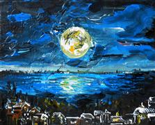 Discover Original Art by Piero Manrique | Full Moon acrylic painting | Art for Sale Online at UGallery