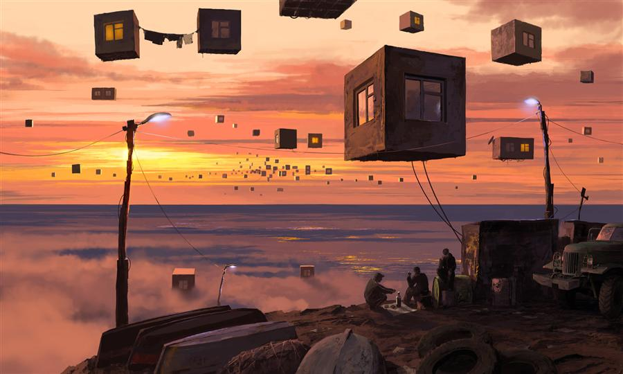 Original art for sale at UGallery.com | City P. Suburb by ALEX ANDREEV | $1,750 | Digital printmaking | 27.6' h x 46' w | http://www.ugallery.com/printmaking-digital-city-p-suburb