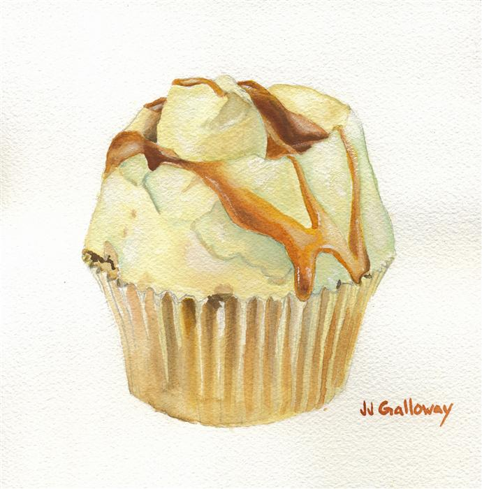 Original art for sale at UGallery.com | Caramel Cupcake by JJ GALLOWAY | $275 | Watercolor painting | 7.5' h x 7.5' w | http://www.ugallery.com/watercolor-painting-caramel-cupcake