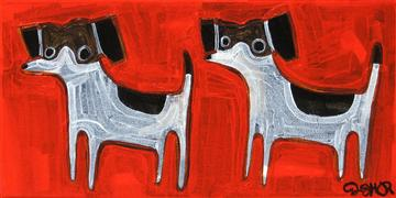 Original art for sale at UGallery.com | Beagles on Red by Jessica JH Roller | $225 | acrylic painting | http://www.ugallery.com/acrylic-painting-beagles-on-red