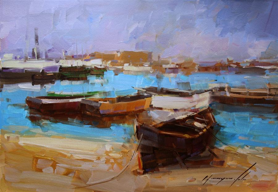 Discover Original Art by Vahe Yeremyan | Harbor Sunset oil painting | Art for Sale Online at UGallery