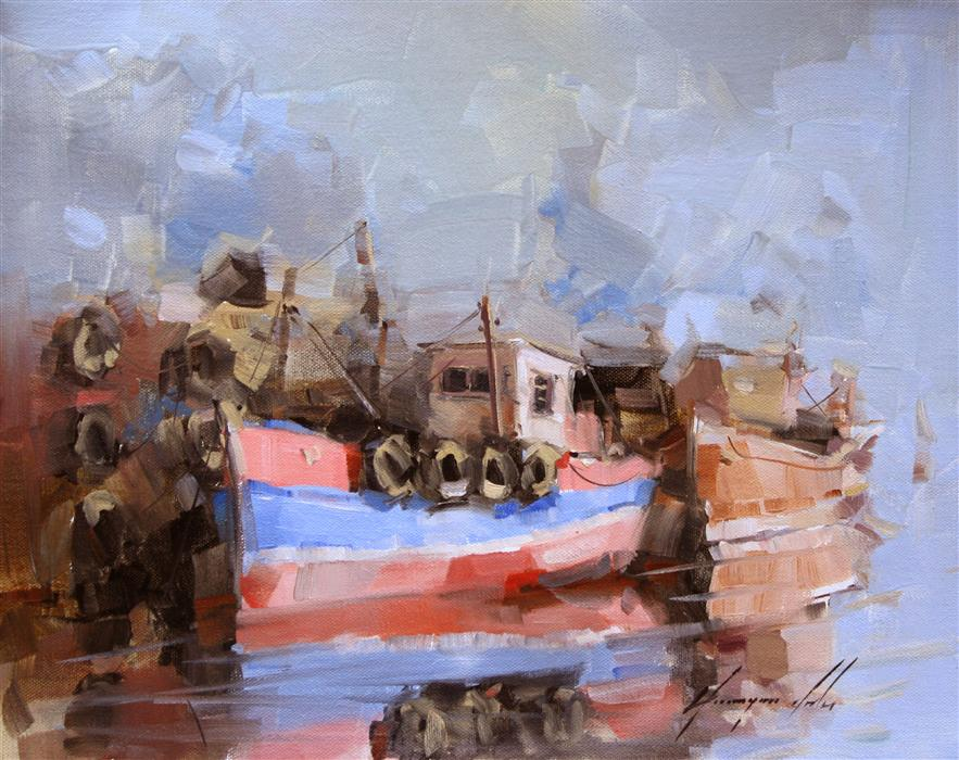 Discover Original Art by Vahe Yeremyan | Dockside Parking oil painting | Art for Sale Online at UGallery