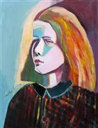 Original art for sale at UGallery.com | Girl in the Plaid Coat by Carolyn Schlam | $2,900 | oil painting | http://www.ugallery.com/oil-painting-girl-in-the-plaid-coat