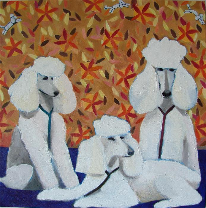 Original art for sale at UGallery.com | Poodle Dreams by HELENE ENGLISH | $975 | Oil painting | 16' h x 16' w | http://www.ugallery.com/oil-painting-poodle-dreams