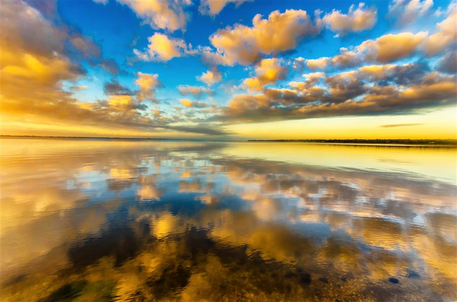 Original art for sale at UGallery.com | Great South Bay Reflections by MICHAEL BUSCH | $170 |  | ' h x ' w | http://www.ugallery.com/photography-great-south-bay-reflections