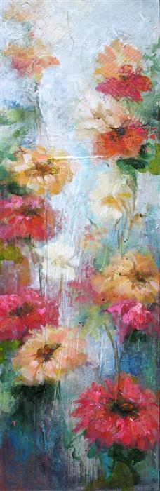 Original art for sale at UGallery.com | Burst into Bloom 2 by KAREN HALE | $725 | Acrylic painting | 30' h x 10' w | http://www.ugallery.com/acrylic-painting-burst-into-bloom-2