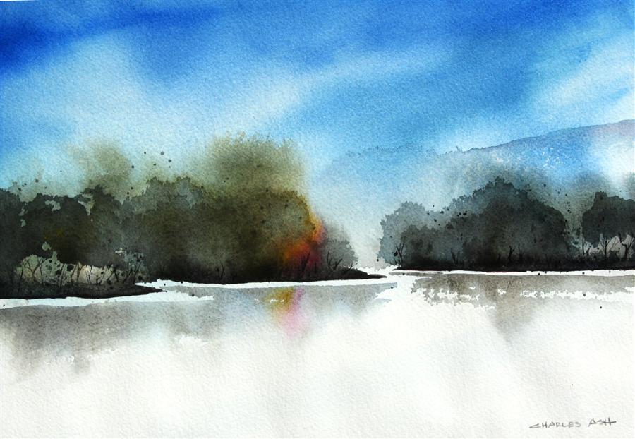 Discover Original Art by Charles Ash | Ohkay Owingeh Lake watercolor painting | Art for Sale Online at UGallery