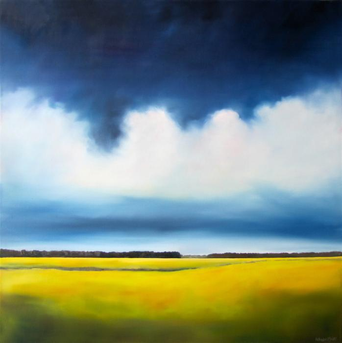 Original art for sale at UGallery.com | Stormy Marsh II by NANCY HUGHES MILLER | $1,675 | Oil painting | 36' h x 36' w | http://www.ugallery.com/oil-painting-stormy-marsh-ii