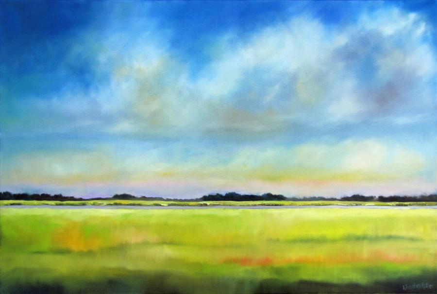 Original art for sale at UGallery.com | Afternoon Light, Waterway Marsh by NANCY HUGHES MILLER | $1,425 | Oil painting | 24' h x 36' w | http://www.ugallery.com/oil-painting-afternoon-light-waterway-marsh