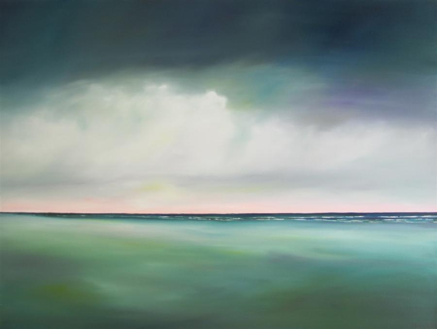 Original art for sale at UGallery.com | Morning Light Beach - Teal by NANCY HUGHES MILLER | $1,675 | Oil painting | 30' h x 40' w | http://www.ugallery.com/oil-painting-morning-light-beach-teal