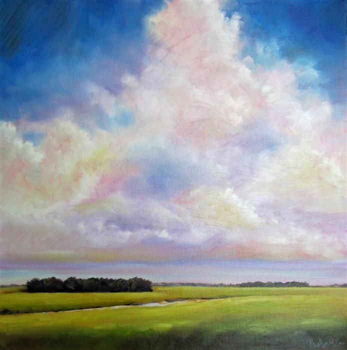 Original art for sale at UGallery.com | Summer Clouds Marsh by NANCY HUGHES MILLER | $550 | Oil painting | 16' h x 16' w | http://www.ugallery.com/oil-painting-summer-clouds-marsh
