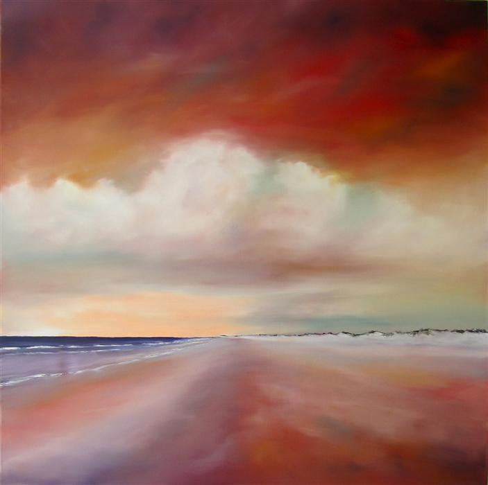 Original art for sale at UGallery.com | Red Sky Beach by NANCY HUGHES MILLER | $1,675 | Oil painting | 36' h x 36' w | http://www.ugallery.com/oil-painting-red-sky-beach