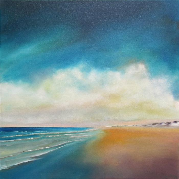 Original art for sale at UGallery.com | Summer Clouds Beach by NANCY HUGHES MILLER | $550 | Oil painting | 16' h x 16' w | http://www.ugallery.com/oil-painting-summer-clouds-beach