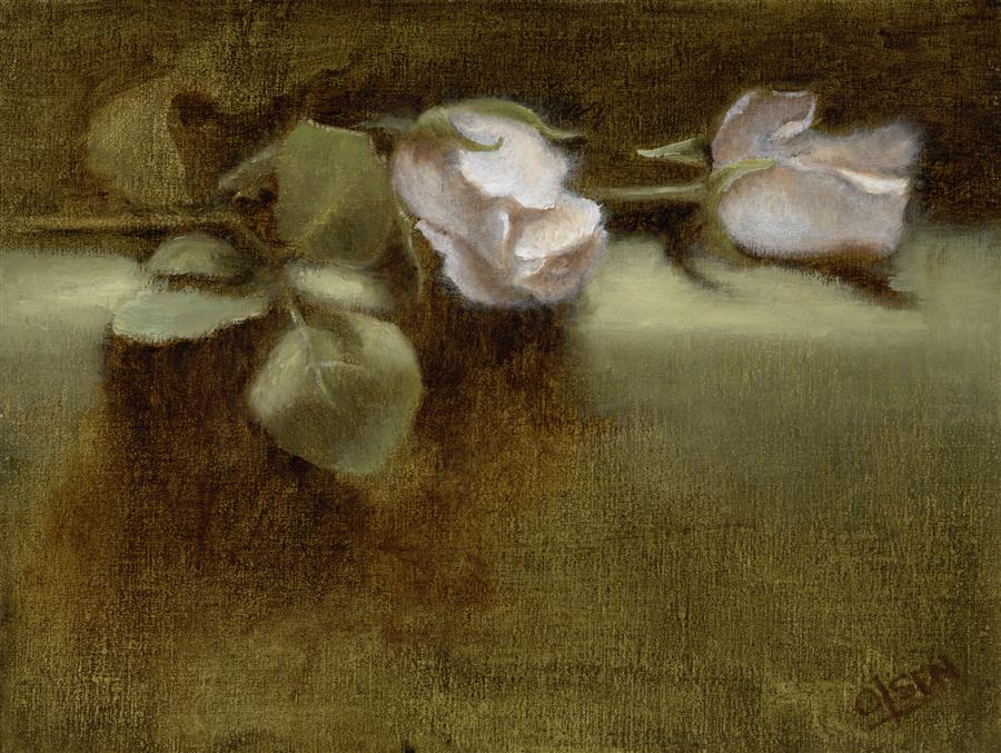 Discover Original Art by Christy Olsen | White Roses oil painting | Art for Sale Online at UGallery