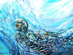 Discover Original Art by Piero Manrique | Ocean Man acrylic painting | Art for Sale Online at UGallery