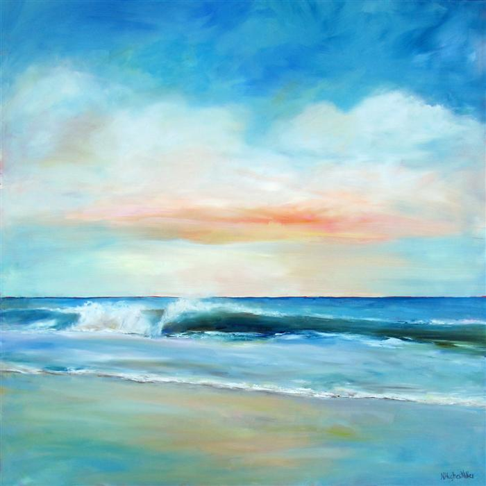 Original art for sale at UGallery.com | Daybreak Surf by NANCY HUGHES MILLER | $1,675 | Oil painting | 36' h x 36' w | http://www.ugallery.com/oil-painting-daybreak-surf