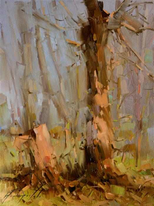 Discover Original Art by Vahe Yeremyan |  Dreamy Birches oil painting | Art for Sale Online at UGallery