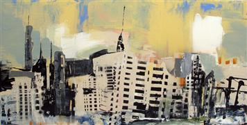 Original art for sale at UGallery.com | City at Dusk by Gloria Blatt | $2,725 | acrylic painting | http://www.ugallery.com/acrylic-painting-city-at-dusk