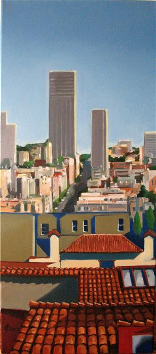 Original art for sale at UGallery.com | Studio Heights View by OLEG OSIPOFF | $1,275 | Oil painting | 27' h x 12' w | http://www.ugallery.com/oil-painting-studio-heights-view