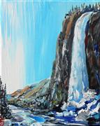 Discover Original Art by Piero Manrique | Waterfall acrylic painting | Art for Sale Online at UGallery
