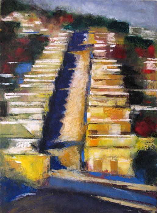 Original art for sale at UGallery.com | Bernal Hill Row Houses by OLEG OSIPOFF | $800 | Pastel artwork | 30' h x 22' w | http://www.ugallery.com/pastel-artwork-bernal-hill-row-houses
