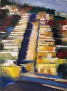 Impressionism art,Landscape art,City art,pastel artwork,Bernal Hill Row Houses