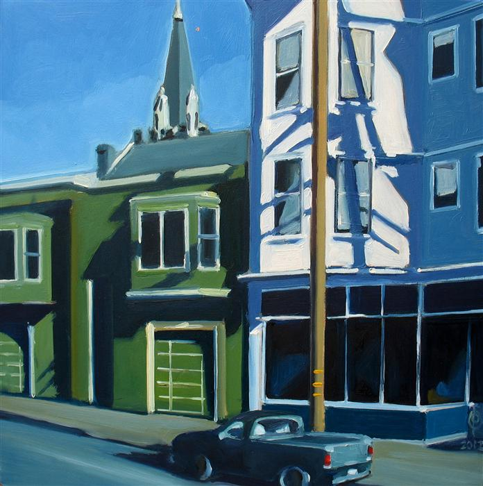 Original art for sale at UGallery.com | 17th Street Afternoon by OLEG OSIPOFF | $600 | Oil painting | 12' h x 12' w | http://www.ugallery.com/oil-painting-17th-street-afternoon