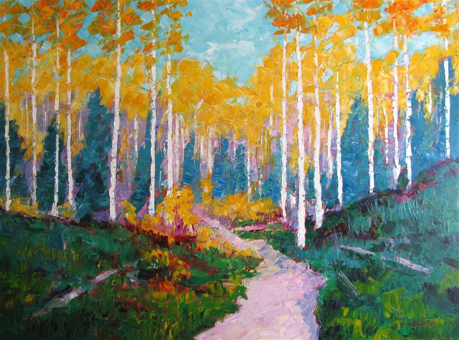 Original art for sale at UGallery.com | Forest Loop Trail by ROGER ALDERMAN | $3,500 | Oil painting | 36' h x 48' w | http://www.ugallery.com/oil-painting-forest-loop-trail