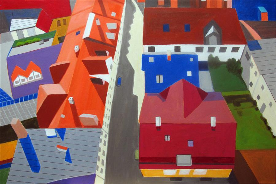 Original art for sale at UGallery.com   Old Town Center by TONI SILBER-DELERIVE   $2,825   Acrylic painting   24' h x 36' w   http://www.ugallery.com/acrylic-painting-old-town-center