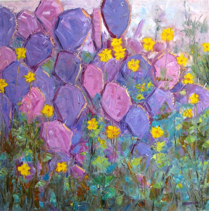 Original art for sale at UGallery.com | Purple Pear Cactus by ROGER ALDERMAN | $2,800 | Oil painting | 36' h x 36' w | http://www.ugallery.com/oil-painting-purple-pear-cactus