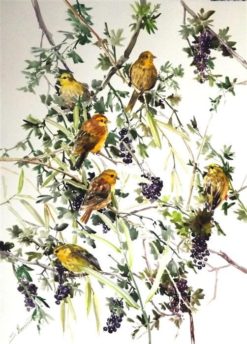 Original art for sale at UGallery.com | Yellowhammers and Blackcurrant by SUREN NERSISYAN | $650 | Watercolor painting | 30' h x 22' w | http://www.ugallery.com/watercolor-painting-yellowhammers-and-blackcurrant