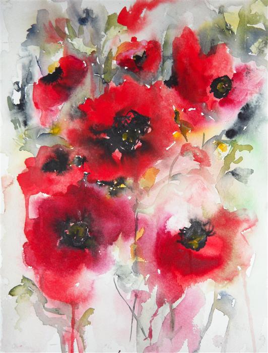 Poppies en Masse V by Karin Johannesson    350   watercolor painting    Poppies Watercolor Painting