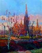 Impressionism art,Landscape art,City art,oil painting,Luther Place, Memorial Church in DC (Late Fall Evening)