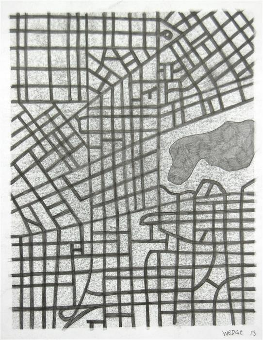 Original art for sale at UGallery.com | Imaginary City #18 by MICHAEL WEDGE | $300 | Pencil drawing | 14' h x 11' w | http://www.ugallery.com/pencil-drawing-imaginary-city-18