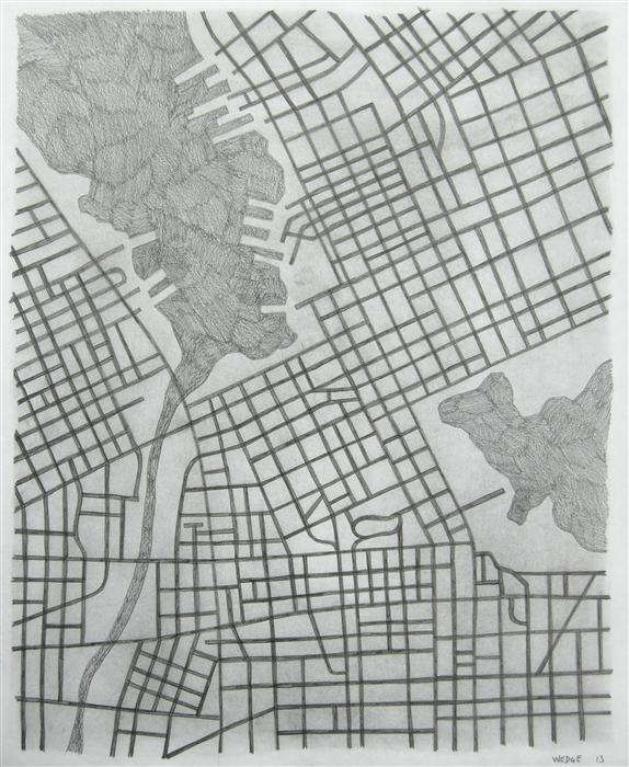 Original art for sale at UGallery.com | Imaginary City #20 by MICHAEL WEDGE | $425 | Pencil drawing | 22' h x 18' w | http://www.ugallery.com/pencil-drawing-imaginary-city-20