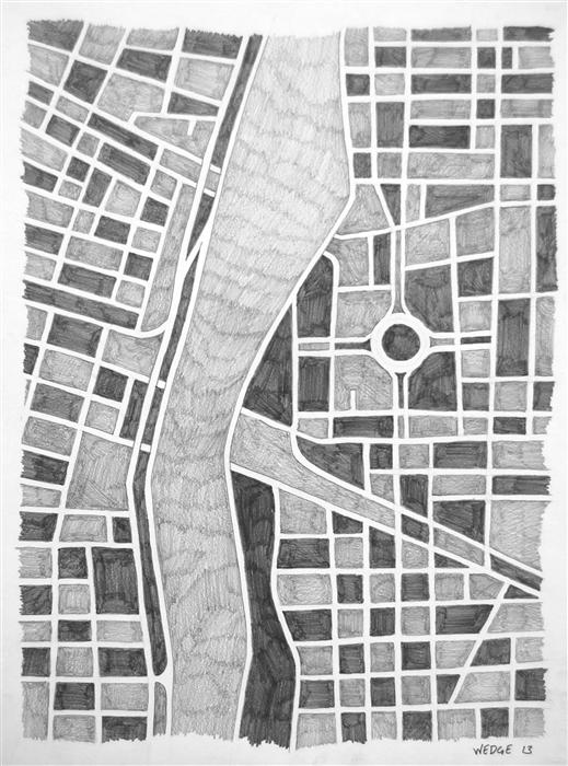 Discover Original Art by Michael Wedge | Imaginary City #13 pencil drawing | Art for Sale Online at UGallery