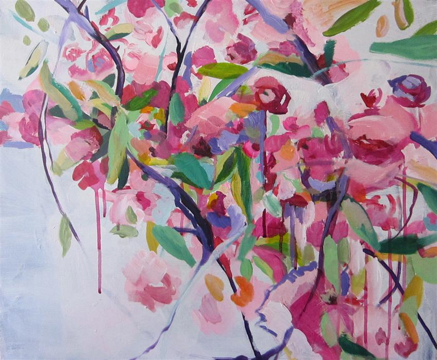 Original art for sale at UGallery.com | Sweet Assembly Of Cherry Blossoms by COLETTE WIRZ NAUKE | $775 | Acrylic painting | 20' h x 24' w | http://www.ugallery.com/acrylic-painting-sweet-assembly-of-cherry-blossoms