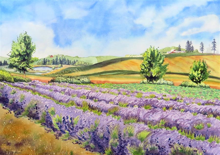 Discover Original Art by Nancy Muren | Stroll through the Lavender watercolor painting | Art for Sale Online at UGallery