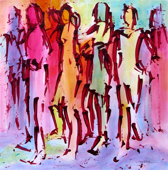 Original art for sale at UGallery.com | Carnival Krewe by SUSAN K BOYLE | $425 | Acrylic painting | 21.5' h x 21.5' w | http://www.ugallery.com/acrylic-painting-carnival-krewe