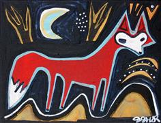 Original art for sale at UGallery.com | Fox in the Park by Jessica JH Roller | $250 | acrylic painting | http://www.ugallery.com/acrylic-painting-fox-in-the-park