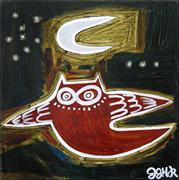 Original art for sale at UGallery.com | Owl and Moon by Jessica JH Roller | $300 | acrylic painting | http://www.ugallery.com/acrylic-painting-owl-and-moon