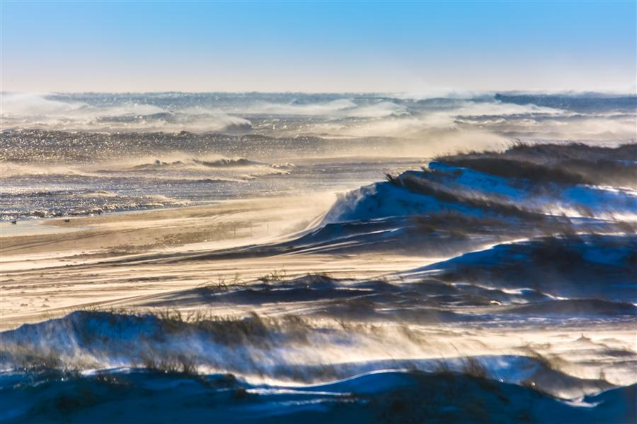 Discover Original Art by Michael Busch | Wind Blown Snow, Sand, and Surf on Fire Island photography | Art for Sale Online at UGallery