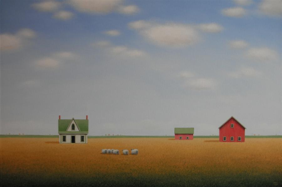 Original art for sale at UGallery.com | Headed to the Old Gothic Farmhouse by SHARON  FRANCE | $2,025 | Acrylic painting | 24' h x 36' w | http://www.ugallery.com/acrylic-painting-headed-to-the-old-gothic-farmhouse