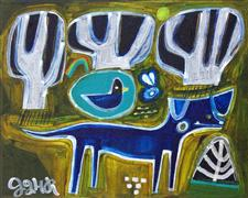 Original art for sale at UGallery.com | Dog at the Duck Pond by Jessica JH Roller | $350 | acrylic painting | http://www.ugallery.com/acrylic-painting-dog-at-the-duck-pond