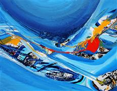 Discover Original Art by Piero Manrique | Blue Fabric acrylic painting | Art for Sale Online at UGallery