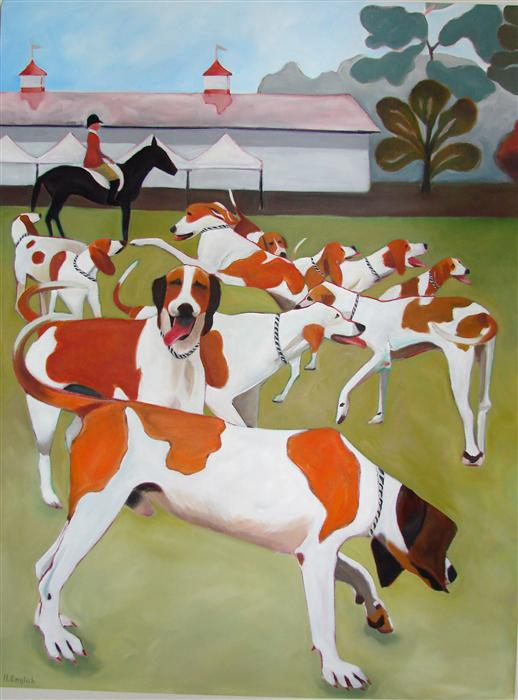 Discover Original Art by Helene English | Goshen Hounds of Maryland oil painting | Art for Sale Online at UGallery