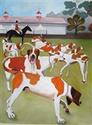 Animals art,oil painting,Goshen Hounds of Maryland