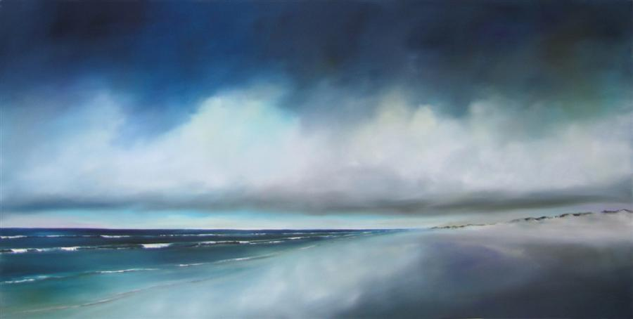 Original art for sale at UGallery.com | Beach Storm by NANCY HUGHES MILLER | $1,150 | Oil painting | 20' h x 40' w | http://www.ugallery.com/oil-painting-beach-storm