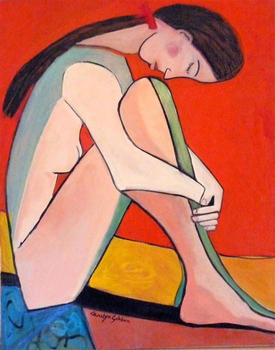 Original art for sale at UGallery.com | Nude with Red Bow by CAROLYN SCHLAM | $3,250 | Oil painting | 38' h x 30' w | http://www.ugallery.com/oil-painting-nude-with-red-bow